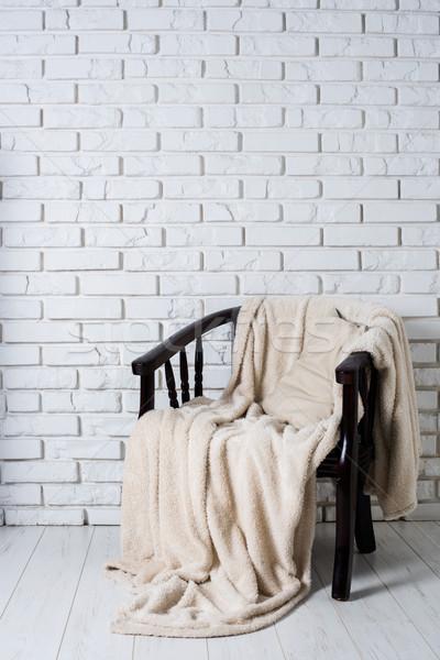 Сток-фото: Председатель · старые · белый · кирпичная · стена · комнату