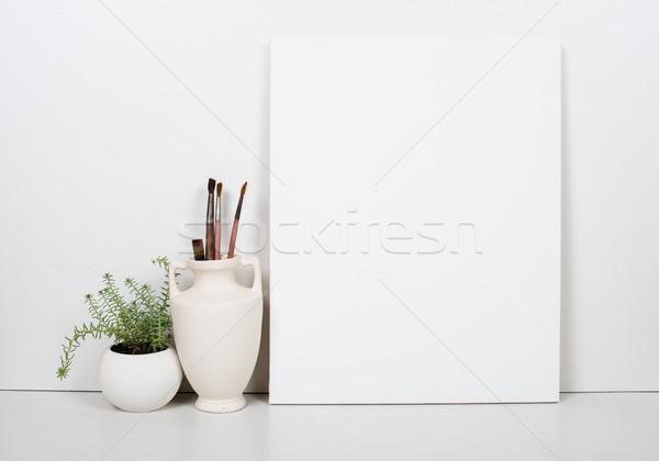 Pusty płótnie biały domu wnętrza Zdjęcia stock © manera