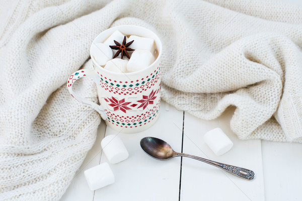 cocoa with marshmallow and star anise Stock photo © manera