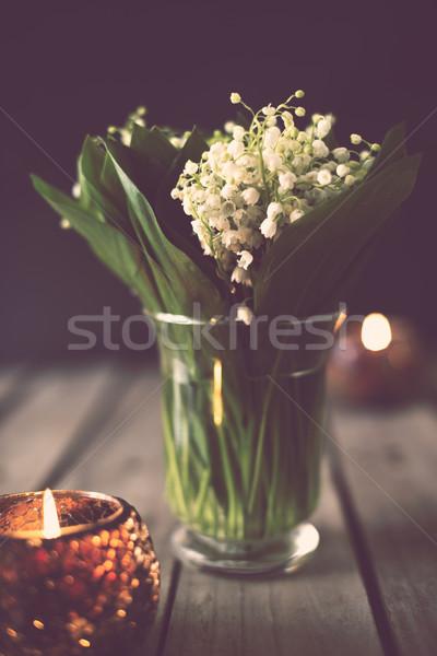 Liliomok völgy váza egyszerű otthon dekoráció Stock fotó © manera