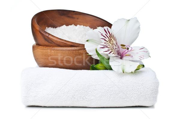 Erőforrások fürdő fehér törölköző aromás só Stock fotó © manera