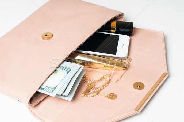 Beige embrague bolso cosméticos joyas dinero Foto stock © manera