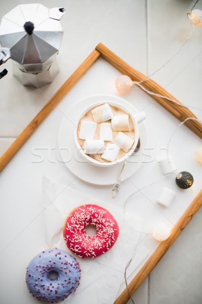 Confortável casa fim de semana café doces bandeja Foto stock © manera
