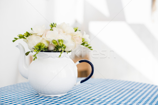 Boeket witte rozen vers zomer vintage Stockfoto © manera