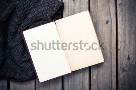 empty vintage book and knitted sweater Stock photo © manera