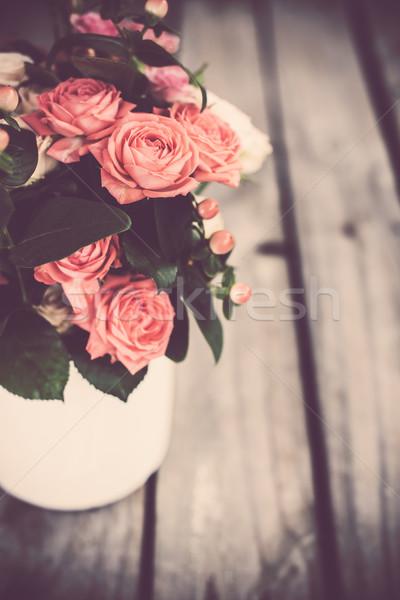 Сток-фото: букет · роз · Vintage · кофе · банка · розовый