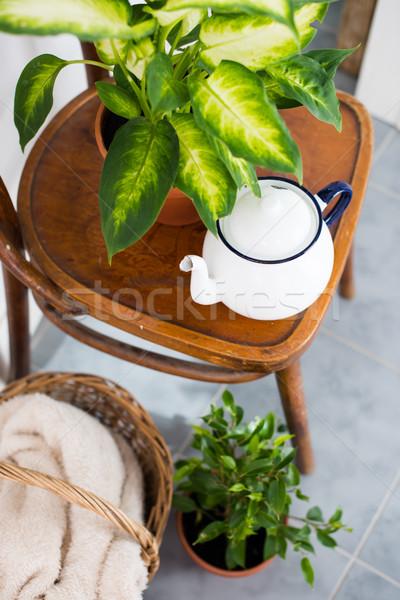 Decoración verano balcón vintage esmalte té Foto stock © manera