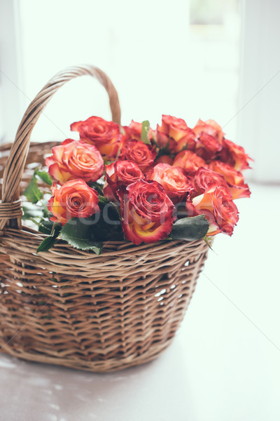 roses in a basket on the table Stock photo © manera