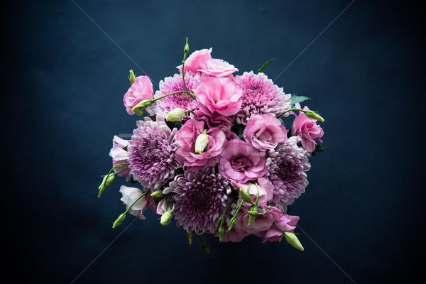 Stock foto: Bouquet · rosa · Blumen · schwarz · Chrysantheme