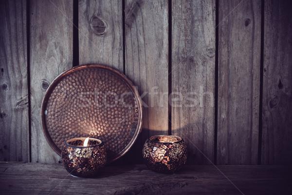 Kaarsen koper dienblad brandend oude Stockfoto © manera