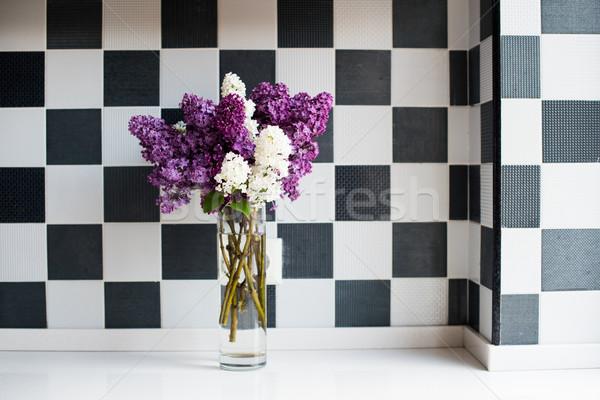 Stok fotoğraf: Bahar · buket · vazo · mutfak · masası · duvar · ev