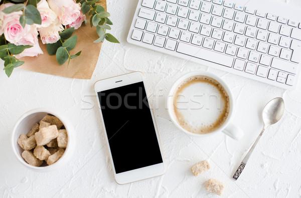 Elegante dame blogger werkruimte romantische vrouwelijk Stockfoto © manera