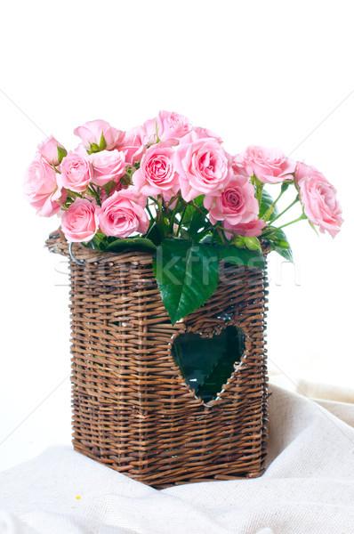 Foto stock: Rosa · rosas · cesta · tejido