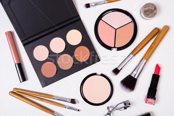 Stock photo: Professional makeup tools, flatlay on white background