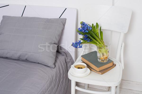 Stock fotó: Hálószoba · belső · közelkép · tiszta · fehér · csésze