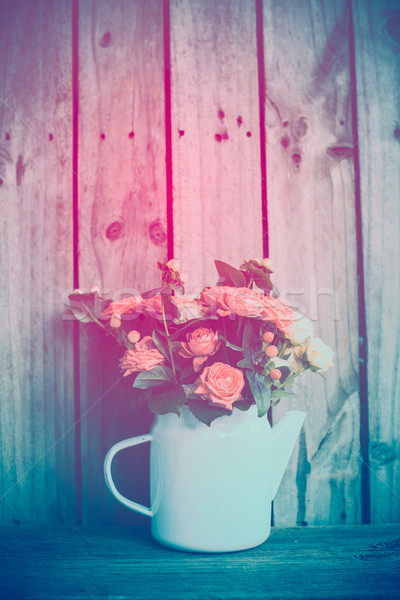 Foto stock: Ramo · rosas · vintage · café · olla · rosa
