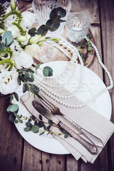 Vintage mariage table arts de la table fleurs Photo stock © manera