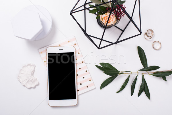feminine tabletop flatlay with smartphone mock-up Stock photo © manera