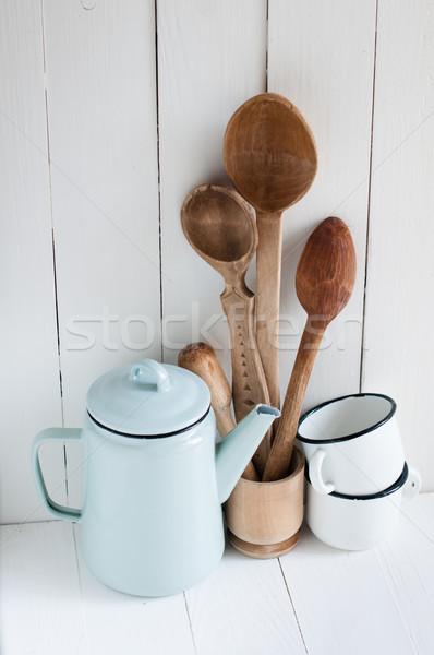 Café pote esmalte rústico colheres casa Foto stock © manera