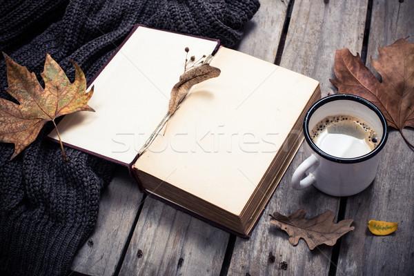 Vintage boek gebreid trui koffiemok Stockfoto © manera