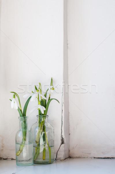 Lentebloemen witte vintage glas flessen oude Stockfoto © manera
