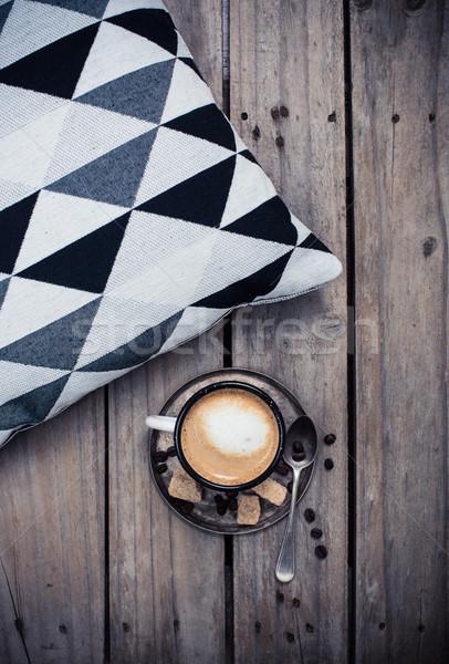 Copo café travesseiro confortável rústico Foto stock © manera