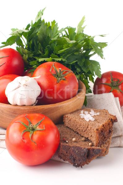 Vegetáriánus étel izolált zöldségek gyógynövények kenyér közelkép Stock fotó © manera