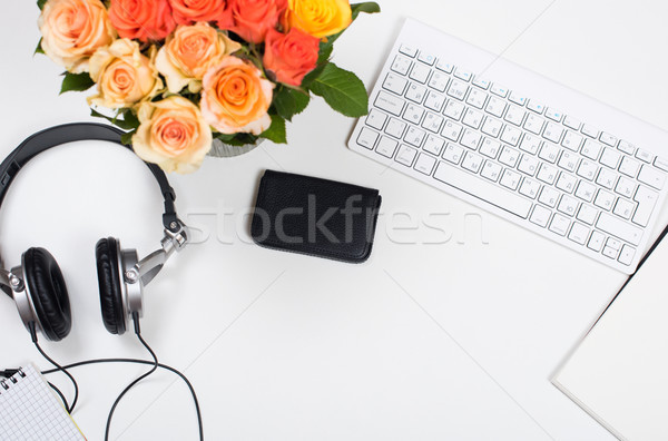 Feminine desk workspace with roses, startup concept Stock photo © manera