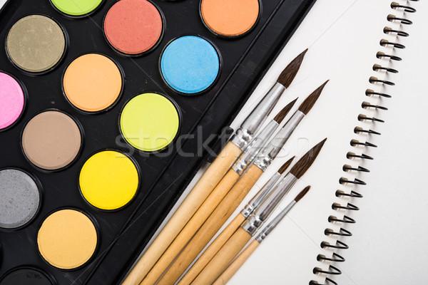 Сток-фото: акварель · краской · набор · новых · чистой · бумаги