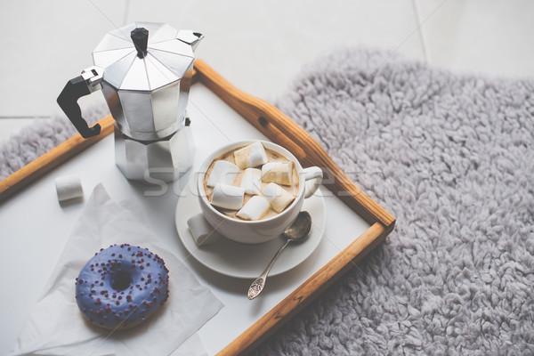 Warm cozy home. Tray and cup of coffee with marshmallows  Stock photo © manera