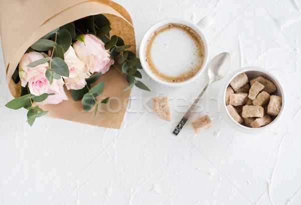 ロマンチックな フェミニン コーヒー バラ 白 ストックフォト © manera