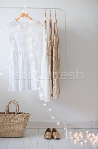 Foto stock: Branco · quarto · interior · verão · vestir · vintage