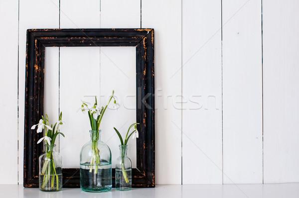 Fehér tavaszi virágok klasszikus üveg üvegek keret Stock fotó © manera