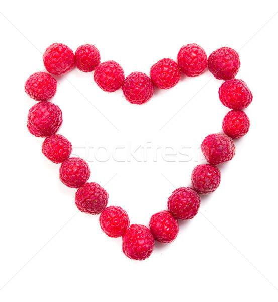Fresh ripe raspberries heart shaped macro shot  Stock photo © manera
