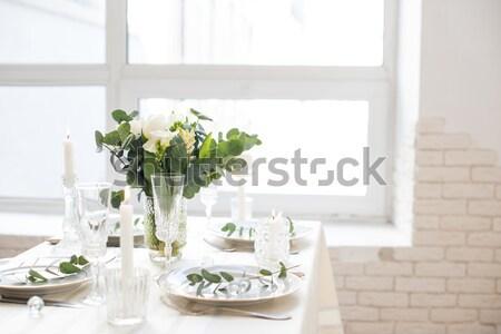 Stockfoto: Blauw · hyacint · vaas · lentebloemen · witte · vintage