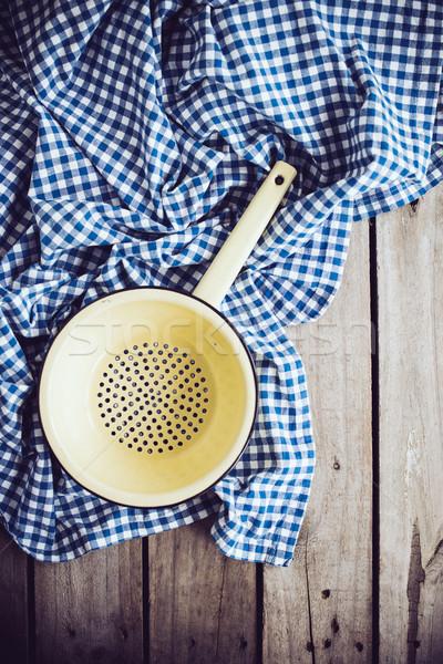 エナメル 黄色 青 リネン 布 古い ストックフォト © manera