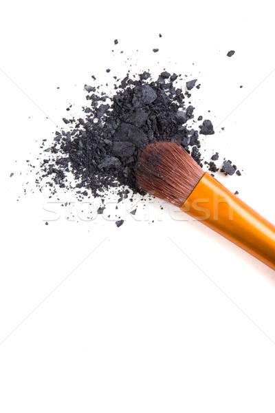 Professional makeup brush and loose powder eyeshadows isolated Stock photo © manera