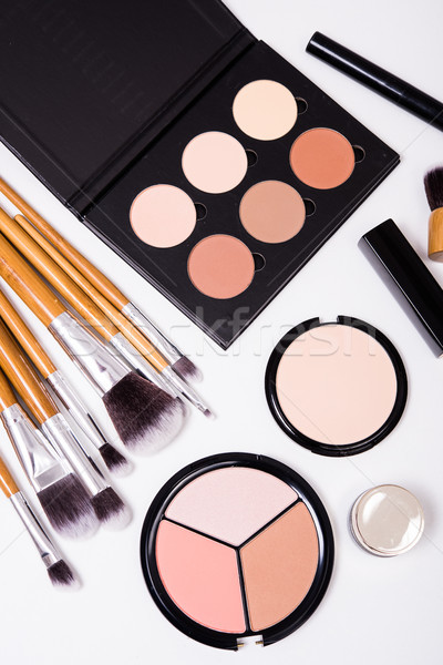 Professional makeup tools, flatlay on white background Stock photo © manera