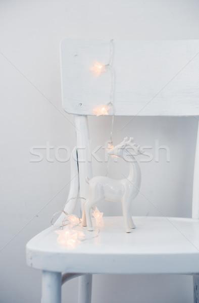 Karácsony fények kerámia szarvas klasszikus fehér Stock fotó © manera