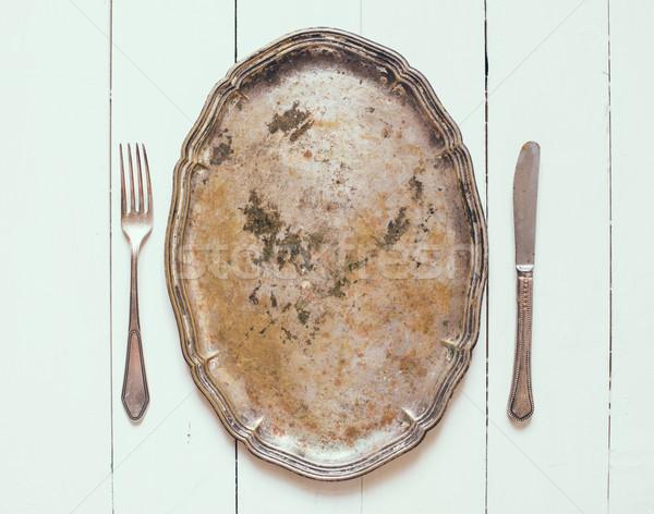 Plata bandeja cubiertos vintage estilo Foto stock © manera