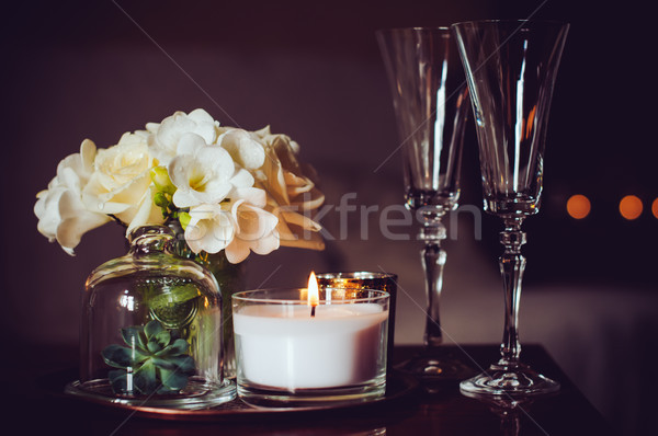 Stock fotó: Gyertyák · pezsgő · szemüveg · virágcsokor · virágok · váza