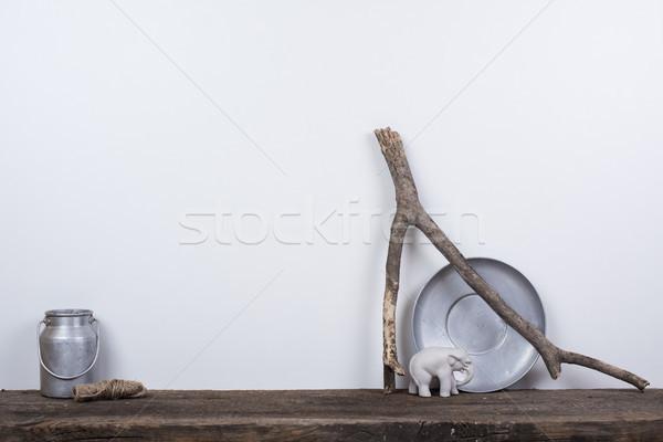 Stílus lakberendezés természetes fa rusztikus klasszikus Stock fotó © manera