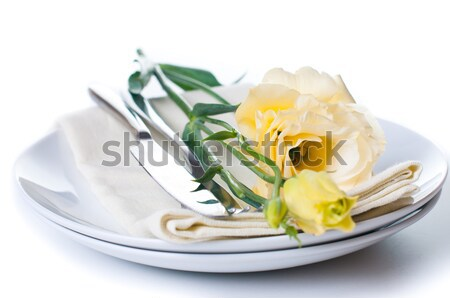 yellow flowers and linen napkins Stock photo © manera
