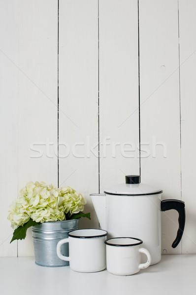 Sprzęt kuchenny vintage kawy puli biały Zdjęcia stock © manera