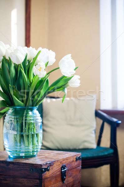 белый тюльпаны букет интерьер комнату Сток-фото © manera