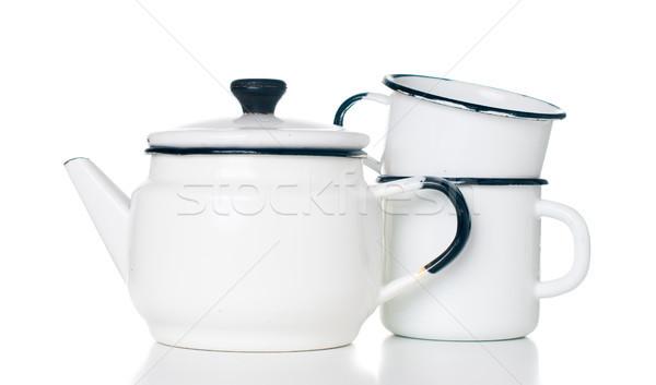 Domu sprzęt kuchenny vintage czajnik odizolowany biały Zdjęcia stock © manera