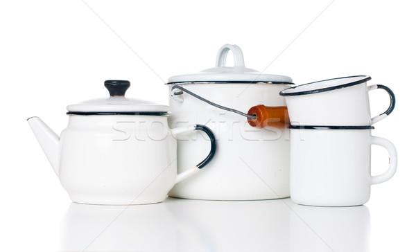 Home vintage utensili da cucina vecchio bollitore può Foto d'archivio © manera