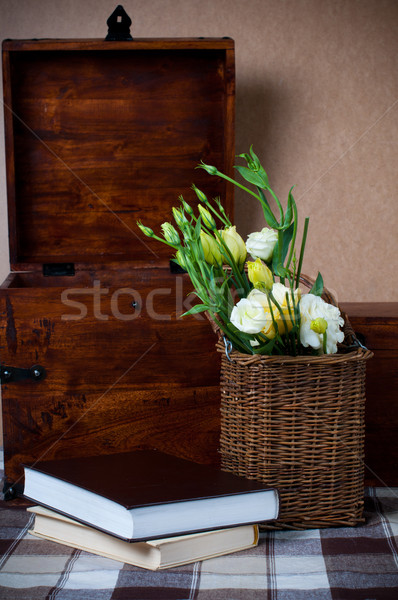 yellow flowers in a wicker basket Stock photo © manera