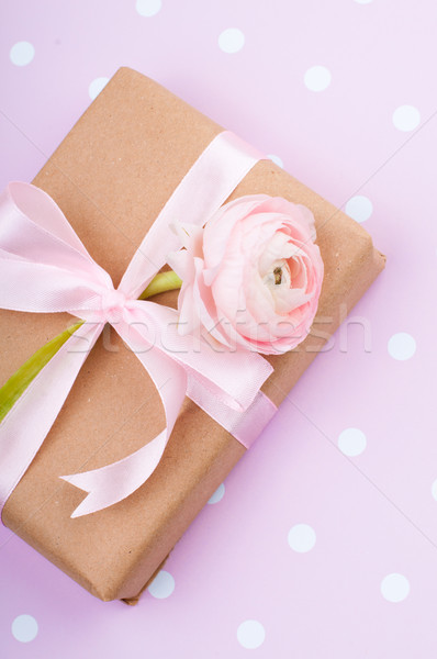 gift tied with a ribbon with flower Stock photo © manera