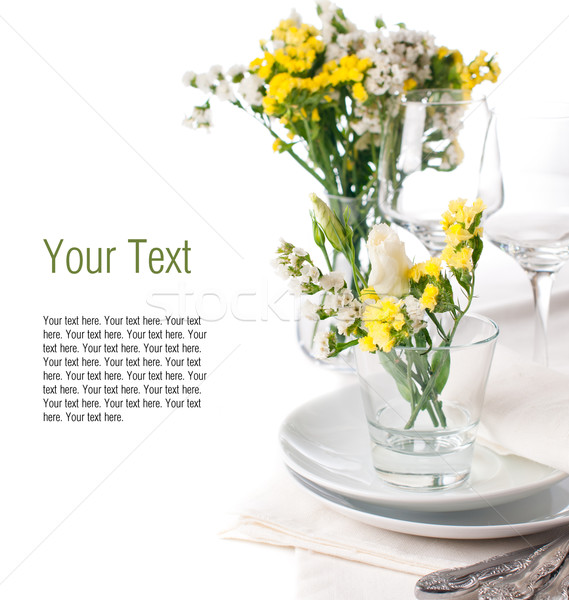 Stock photo: Festive table setting in yellow, template